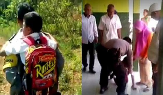 Video Viral Seorang Polisi Gendong Siswa Sekolah Yang Tak Bisa Berjalan