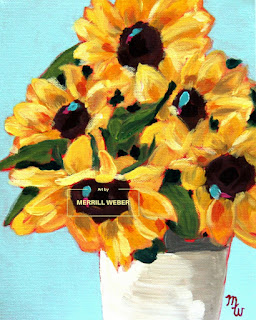 Tami's Delight original acrylic painting of sunflowers by Pennsylvania artist Merrill Weber
