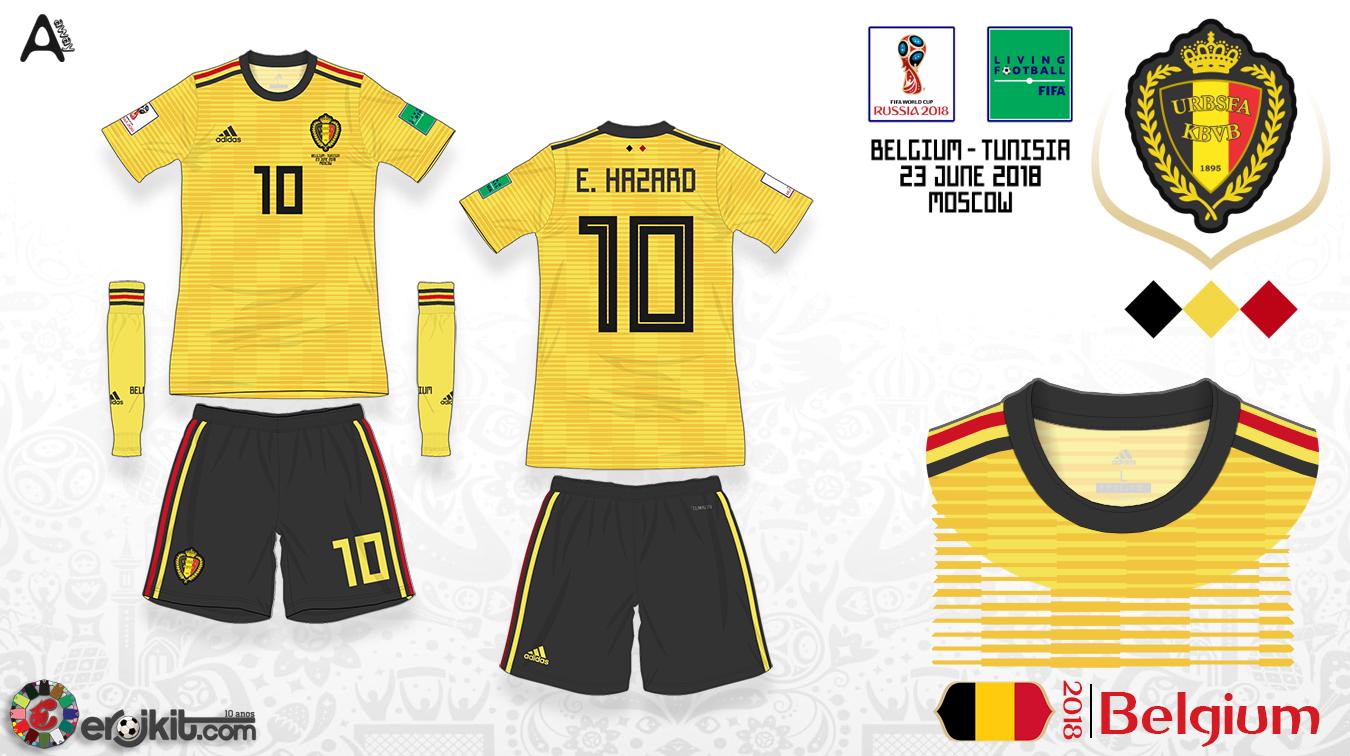 d68599e6d4 Courtois usou três combinações de Kits nas sete partidas que a Bélgica  disputou nessa Copa