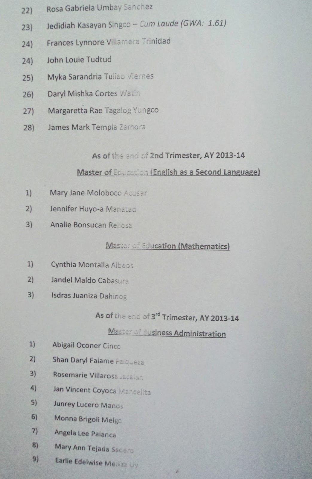 UP Cebu List of Graduates 2014