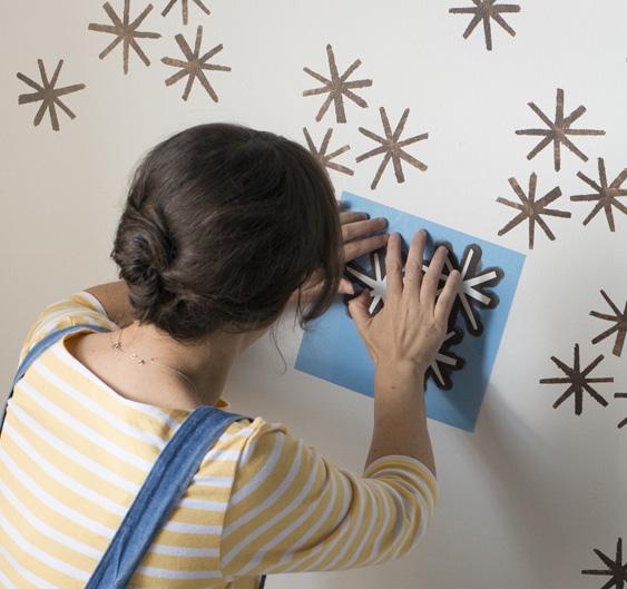 proceso para hacer estampados diy en las paredes