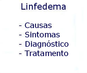 Linfedema causas sintomas diagnóstico tratamento prevenção riscos complicações
