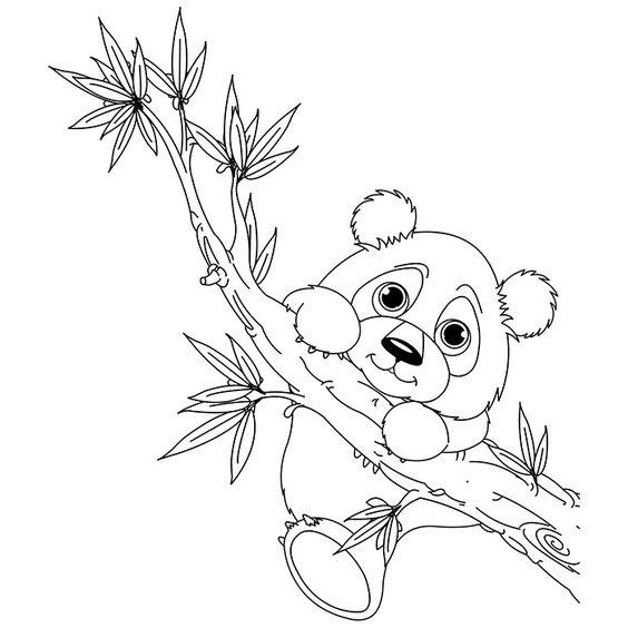 Tranh tô màu con gấu trúc đu cây