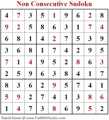 Answer of Non Consecutive Sudoku Puzzle (Fun With Sudoku #333)