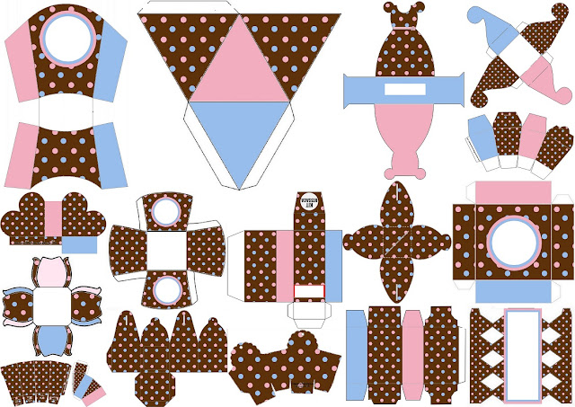 Pink and Light Blue Polka Dots in Chocolate: Free Printable Boxes.