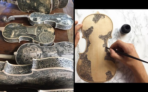 00-Leonardo-Frigo-Freehand-Drawings-on-Violins-www-designstack-co