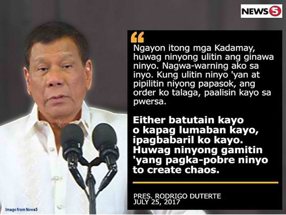 "A challenge was set by the Kalipunan ng Damayang Mahihirap or Kadamay to President Rodrigo Duterte to face them on a dialogue for him to understand their problems instead of uttering harsh remarks and threat. It is their reaction following the statement of the president that they must stop illegally occupying government housing projects or he will be forced to have them shot.  The president mentioned that Kadamay is almost practicing anarchy and breaking laws.  Kadamay chairperson Gloria ""Ka Bea"" Arellano said that they are not afraid to continue occupying government housing projects in spite of President Duterte's warning. Even if they will be forcefully evicted or shot.  She is also expressed her dismay to , according to her, the lack of action by the government for the poor. She said that the President should be criticizing the shortcomings of the National Housing Authority (NHA).  On March, the militant group Kadamay has raided and occupied the vacant units of the government housing projects in Pandi and Bocaue, Bulacan and occupied them illegally. The group demand for housing program for the poor. Source: News 5 Read More:  The effectivity of the Nationwide Smoking Ban or  E.O. 26 (Providing for the Establishment of Smoke-free Environment in Public and Enclosed Places) started today, July 23, but only a few seems to be aware of it.  President Rodrigo Duterte signed the Executive Order 26 with the citizens health in mind. Presidential Spokesperson Ernesto Abella said the executive order is a milestone where the government prioritize public health protection.    The smoking ban includes smoking in places such as  schools, universities and colleges, playgrounds, restaurants and food preparation areas, basketball courts, stairwells, health centers, clinics, public and private hospitals, hotels, malls, elevators, taxis, buses, public utility jeepneys, ships, tricycles, trains, airplanes, and  gas stations which are prone to combustion. The Department of Health  urges all the establishments to post ""no smoking"" signs in compliance with the new executive order. They also appeal to the public to report any violation against the nationwide ban on smoking in public places.   Read More:          ©2017 THOUGHTSKOTO www.jbsolis.com SEARCH JBSOLIS, TYPE KEYWORDS and TITLE OF ARTICLE at the box below Smoking is only allowed in designated smoking areas to be provided by the owner of the establishment. Smoking in private vehicles parked in public areas is also prohibited. What Do You Need To know About The Nationwide Smoking Ban Violators will be fined P500 to P10,000, depending on their number of offenses, while owners of establishments caught violating the EO will face a fine of P5,000 or imprisonment of not more than 30 days. The Department of Health  urges all the establishments to post ""no smoking"" signs in compliance with the new executive order. They also appeal to the public to report any violation against the nationwide ban on smoking in public places.          ©2017 THOUGHTSKOTO www.jbsolis.com SEARCH JBSOLIS, TYPE KEYWORDS and TITLE OF ARTICLE at the box below"