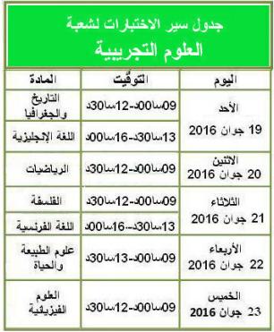 جدول سير اختبارات البكالوريا الجزئية شعبة علوم تجريبية