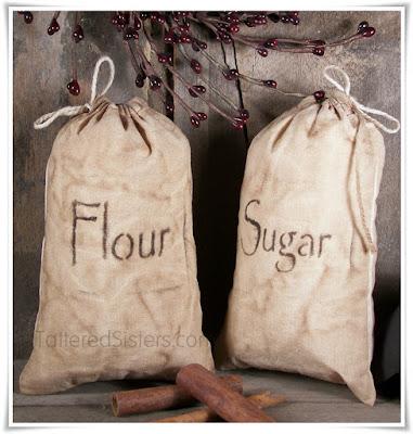 Primitive Grungy Flour Sugar Muslin Bags Set