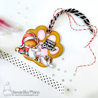I Believe in Santa Paws Tag by Samantha Mann, Newton's Nook Designs, Tags, 25 Days of Christmas Tags, Distress Inks, Die Cuts, christmas #newtonsnook #christmas #distressinks #diecuts #tags