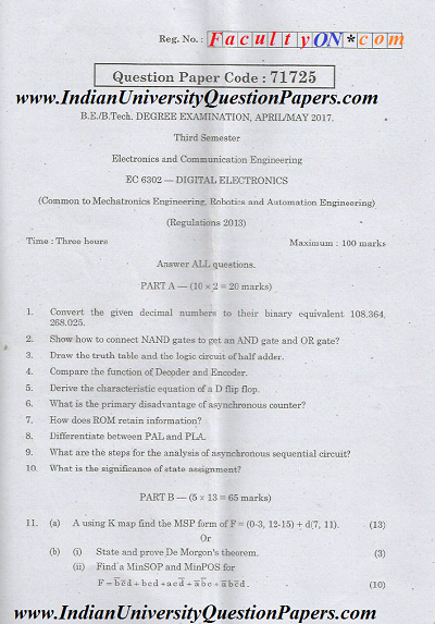 EC6302 Digital Electronics April May 2017 Question Paper