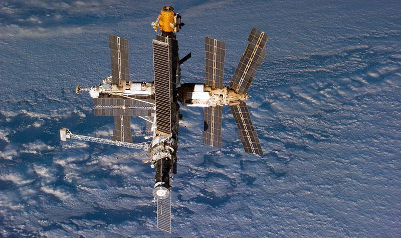 Орбитальная станция мир на фоне Земли