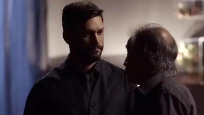 Diogo (Armando Babaioff) revela o nome de quem quer que mate: Paloma (Grazi Massafera) — Foto: Globo