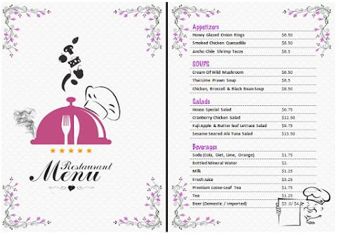 Plantilla para menú de restaurante editable en Word