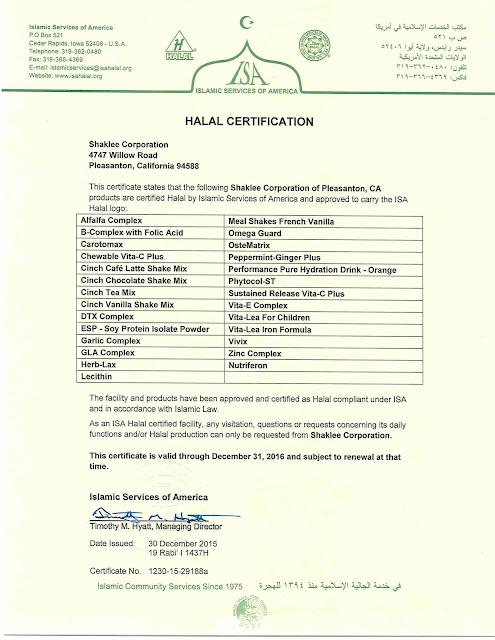 Produk Shaklee Malaysia Terjamin Halal