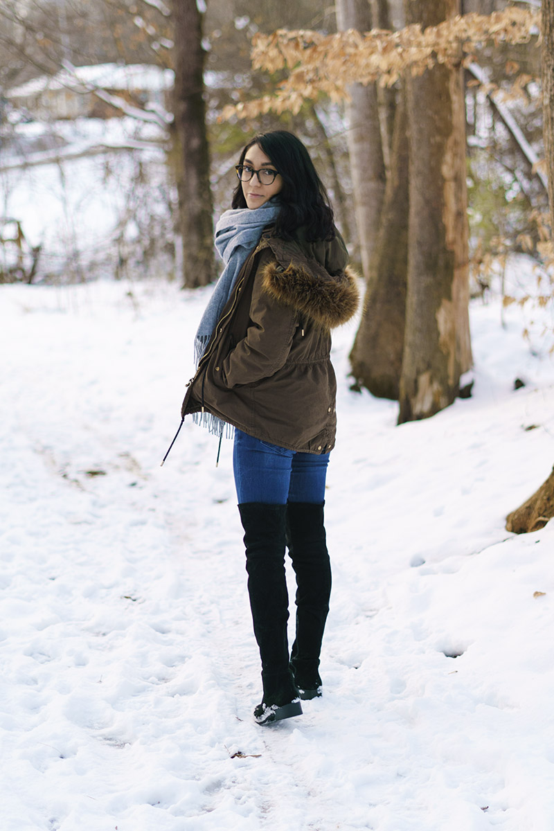 Over the knee boots winter outfit