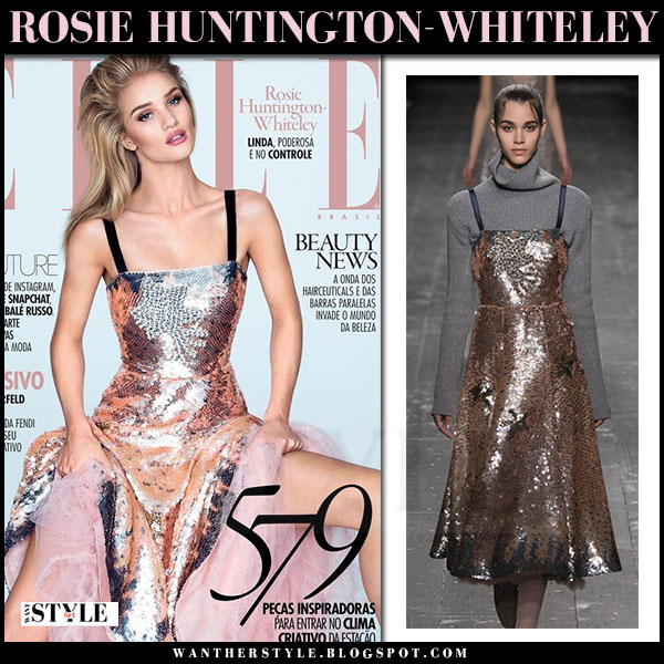 Rosie Huntington-Whiteley in metallic pink Valentino dress elle brazil cover 2016 what she wore
