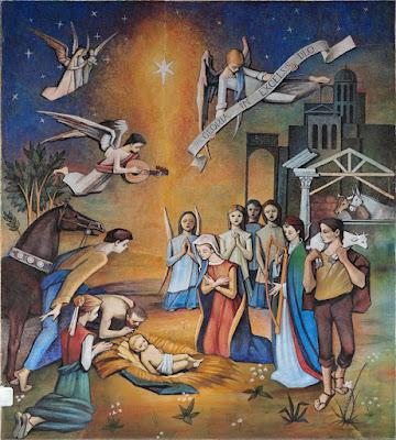 Mural de la Natividad de Casimiro Baragaño en la iglesia de Pola de Siero