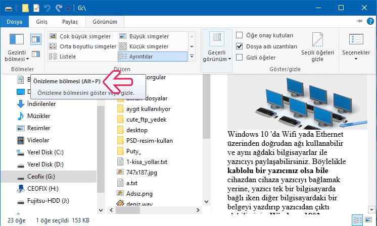 önizleme bölmesini gizleme-klavye kısa yolu ile - www.ceofix.com
