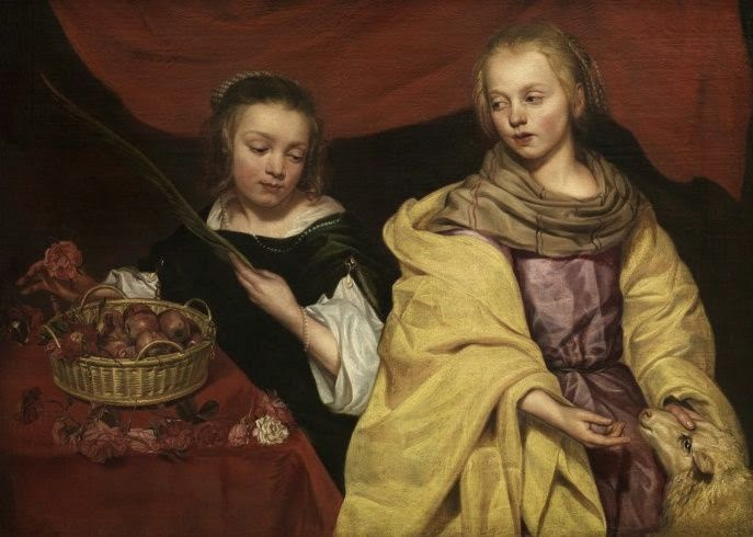 Two Girls as Saintes Agnes and Drothea, Michaelina Woutiers