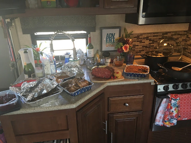 Cranberry sauce, sage and sausage stuffing, turkey, ham and greenbean casserole