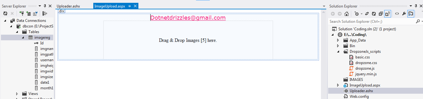 File or Image upload in ASP NET C# Using Dropzone JQuery and