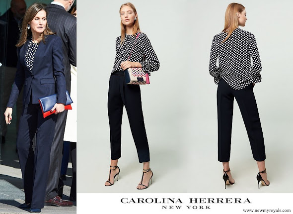 Queen Letizia wore Carolina Herrera navy ecru polka dot silk blouse