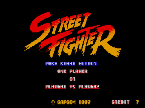 Pantalla inicial del Arcade Street Fighter : Credits