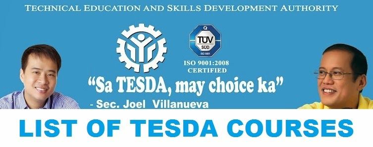 Full List of TESDA Courses Offered