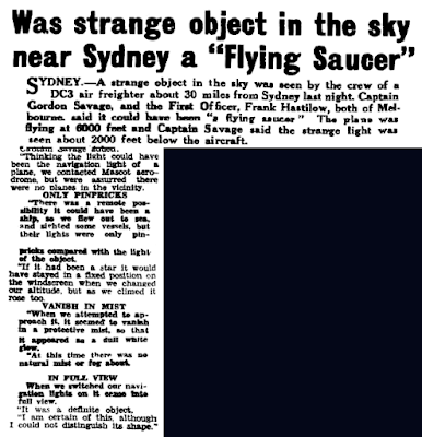 Was Strange Object in the Sky Near Sydney a 'Flying Saucer' – The Evening Advocate (Australia  5-26-1950)