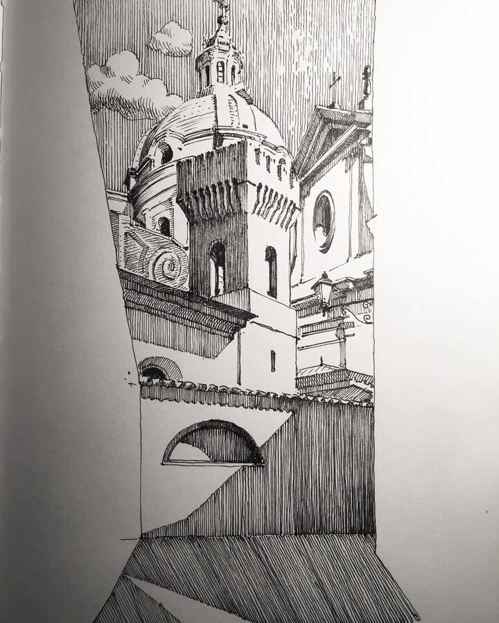 12-View-from-below-Mark-Poulier-Eclectic-Mixture-of-Architectural-Drawings-www-designstack-co