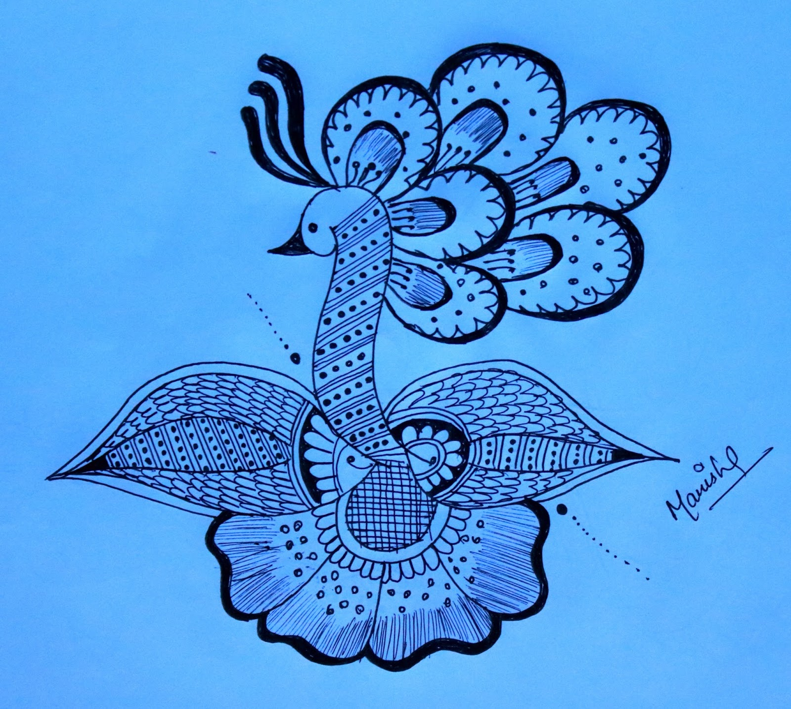 As you know peacock is our national bird it has very beautifull feathers i designed this rangoli with pencil hope you like it