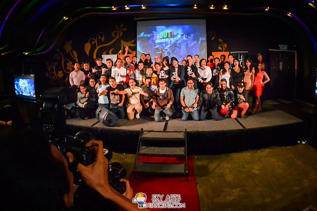 A group photo of all local artists together with the sponsors of THE SHOUT! AWARDS 2013
