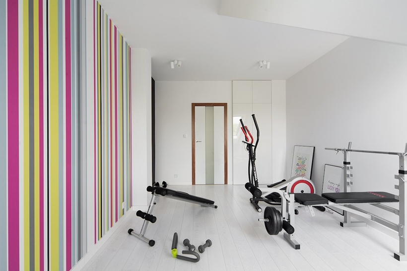 Small colorful home gym