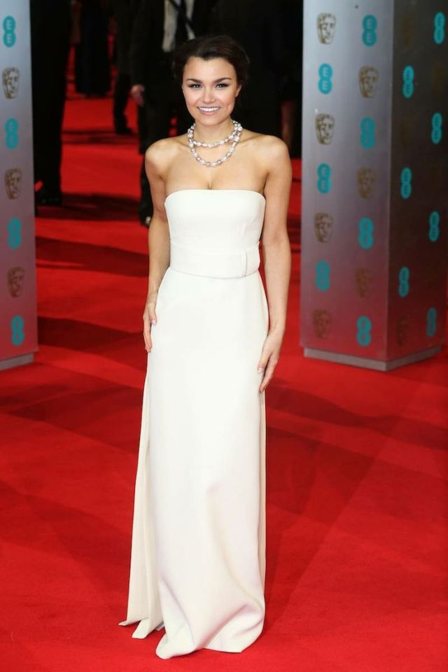 Samantha Barks in a white Calvin Klein column gown at the BAFTA 2014