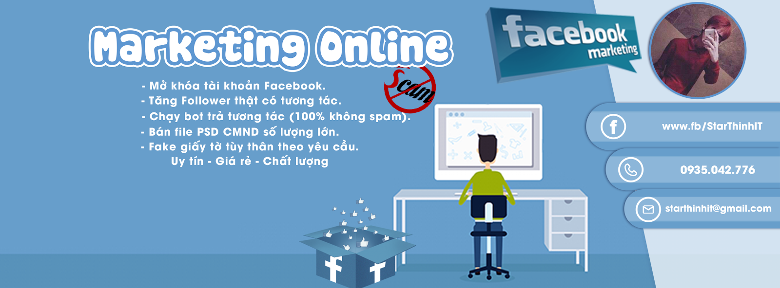 [PSD Ảnh Bìa] Ảnh Bìa Marketing Online Facebook đẹp