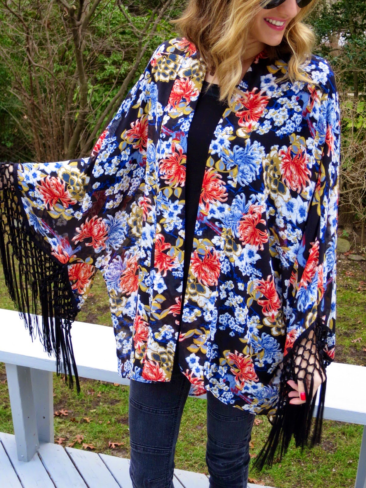 blue &red floral jacket