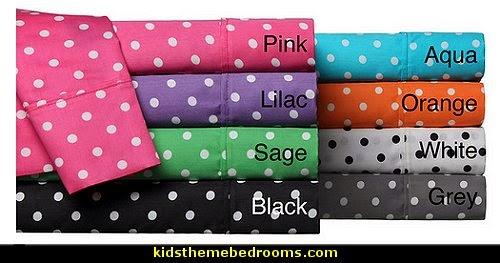 polka dot bedroom decorating ideas - polka dot wall decals -  polka dot bedroom theme - bedroom circles - polka dots decor  - polka dot wall murals - polka dot bedding - Polka Dot decals - polka dot walls -