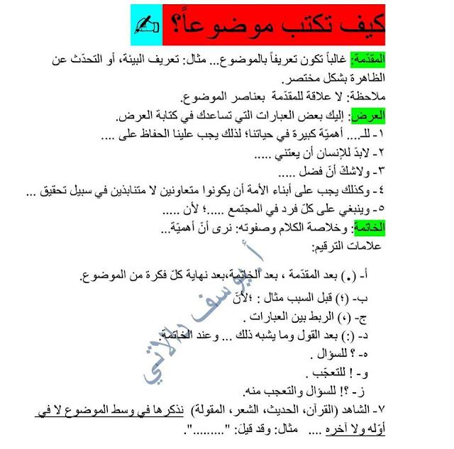 كيفية كتابة موضوع باللغة العربية أ. يوسف دالاتي