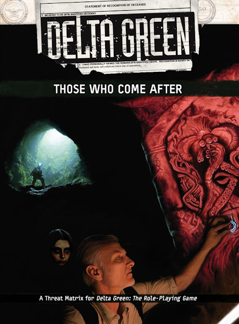 The cover of Delta Green: Those Who Come After in which a creepy femme person lurks behind a white haired masc person while they examine a carved wall, in the background, someone is silhouetted as they come down from the opening of the cave.
