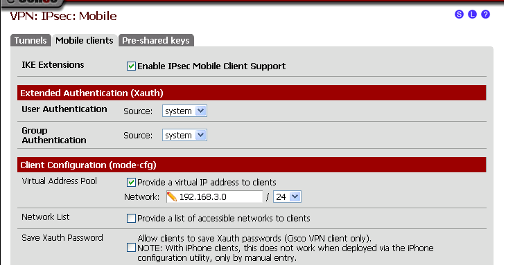 pfsense installation with IPSec VPN and iOS client setup (updated)