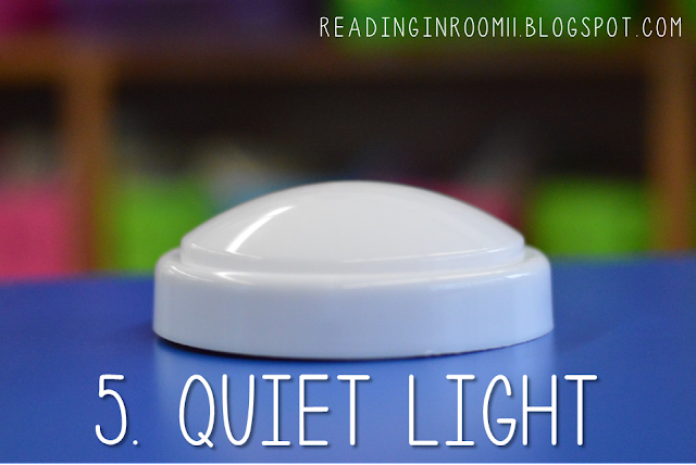 The quiet light is a small group reading essential.  This comes in handy when it is time to progress monitor or do anything else that involves working 1:1 with a student while the rest of the group does quiet/independent work.  The rules for the light are simple-check out the full post for details.