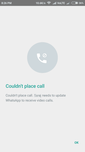Video call error whatsapp - update the app