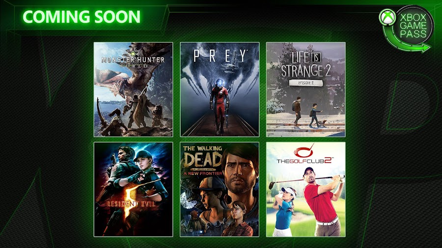 xbox game pass monster hunter world re5 resident evil prey twd xb1 2019