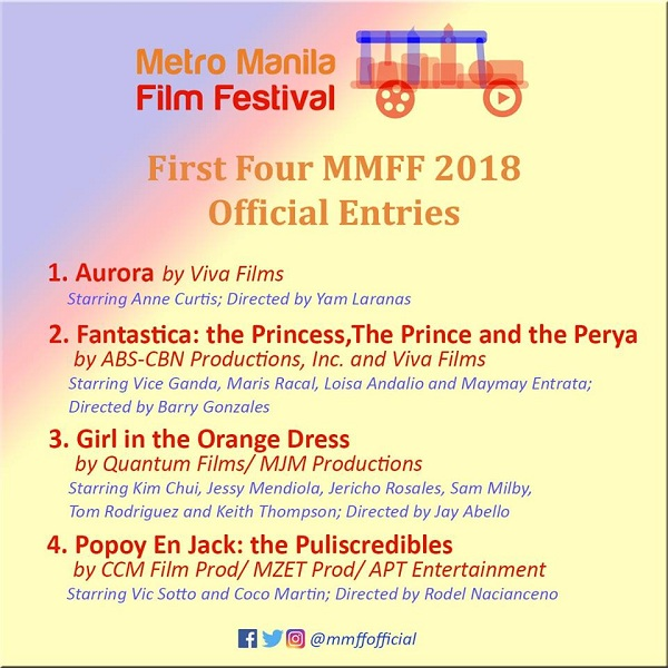 MMFF 2018 announces first four official entries