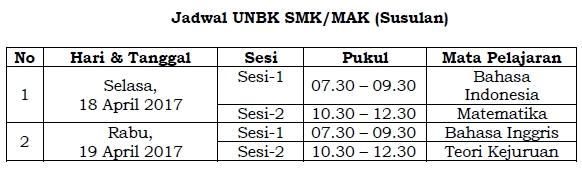 Jadwal UNBK SMK/MAK 2017 Susulan