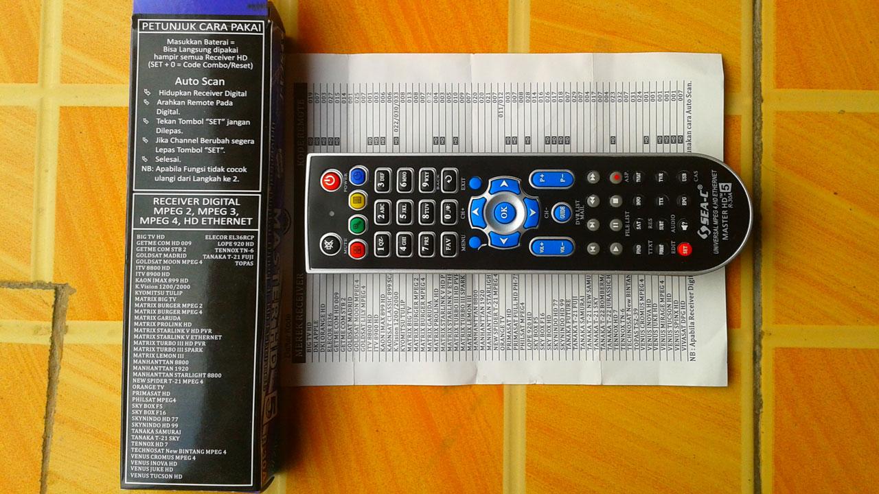 kode remote receiver universal mastar hd