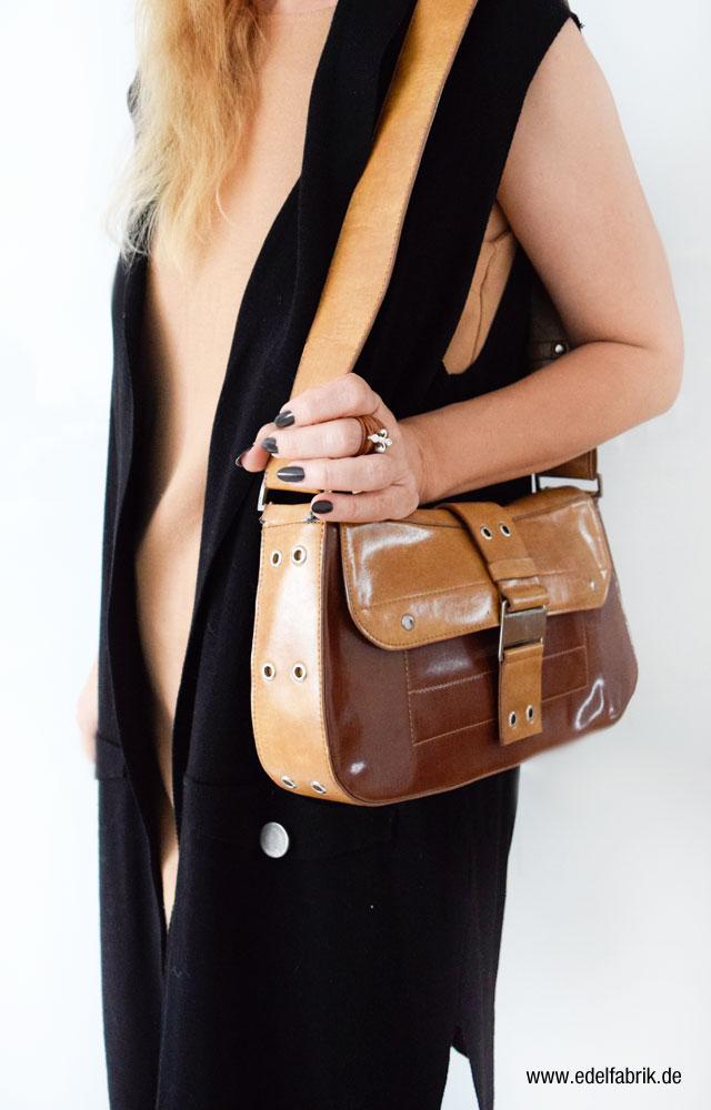 Braune Patchworkhandtasche