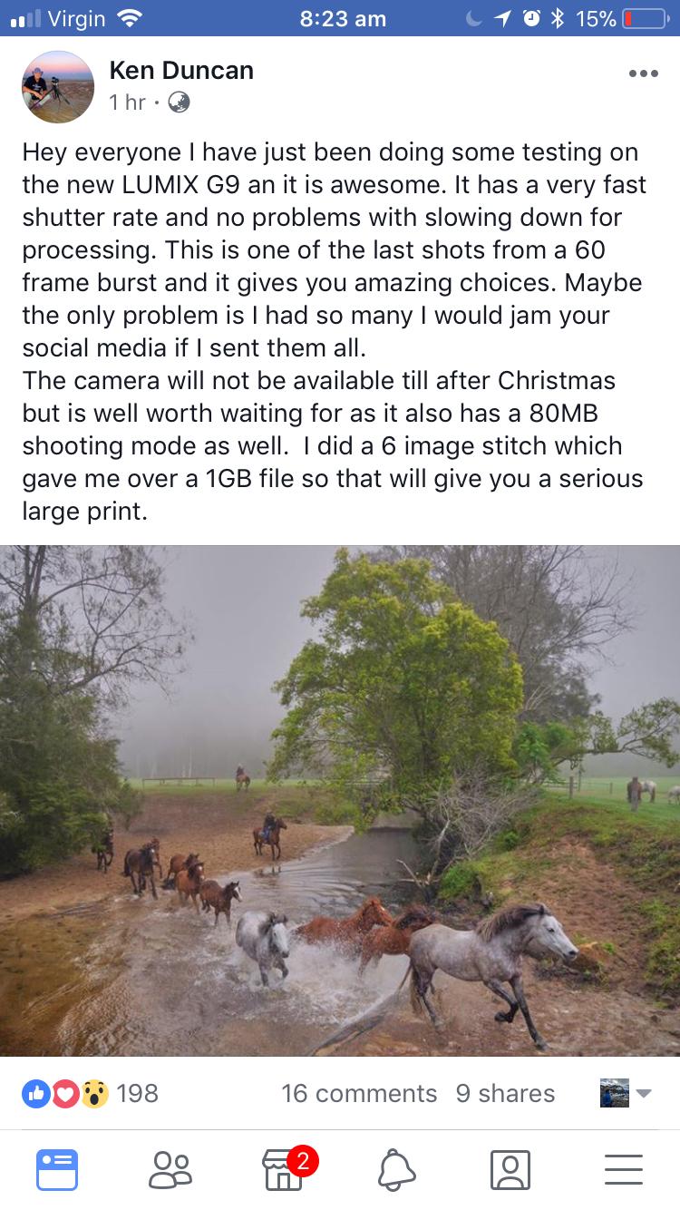 Скриншот сообщения Кена Дункана о новой камере Lumix G9