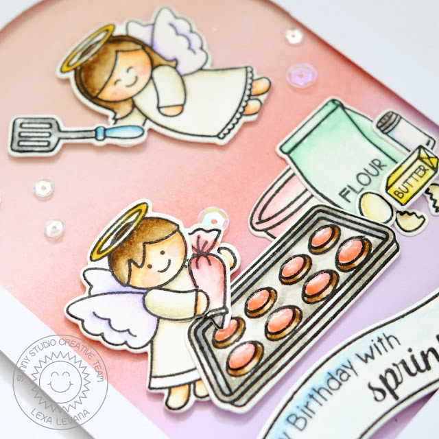 Sunny Studio Stamps: Little Angels & Blissful Baking Card by Lexa Levana (using Sunny Semi Circle dies for the arched window)